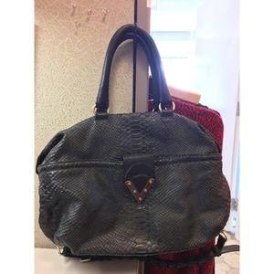 Pour la victoire snakeskin black leather satchel